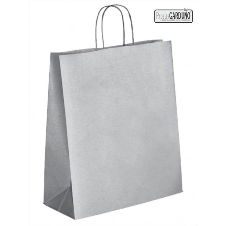 Bolsa papel asa retorcida 46+16*49 -  celulosa 100 gr fondo plata