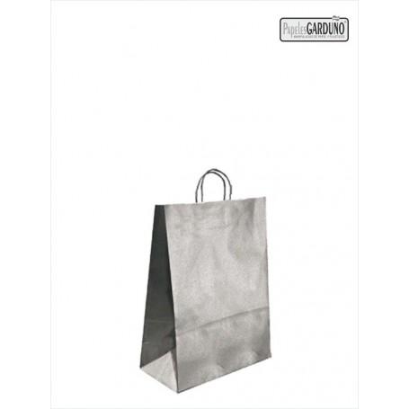 Bolsa papel asa retorcida 18+8*24 - kraft liso 90 gr - fondo plata