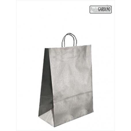 Bolsa papel asa retorcida 27+12*37 - kraft liso 90 gr - fondo plata
