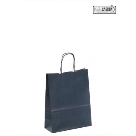 Bolsa papel asa retorcida 18+8*24 - kraft liso 90 gr - fondo color azul