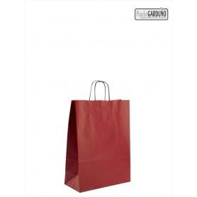 Bolsa papel asa retorcida 18+8*24 - kraft liso 90 gr - fondo color rojo