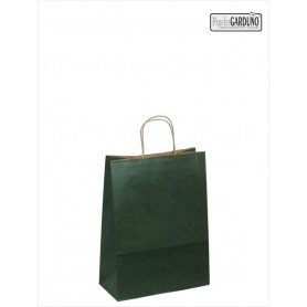 Bolsa papel asa retorcida 18+8*24 - kraft liso 90 gr - fondo color verde