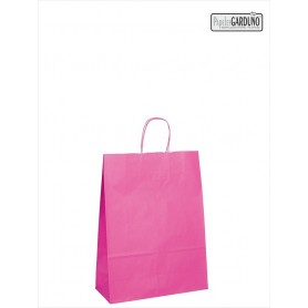 Bolsa papel asa retorcida 18+8*24 - celulosa 90 gr - fondo color fucsia
