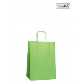 Bolsa papel asa retorcida 18+8*24 - celulosa 90 gr - fondo color verde