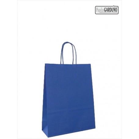 Bolsa papel asa retorcida 24+10*32 - celulosa 90 gr - fondo color azul