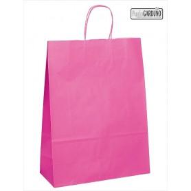 Bolsa papel asa retorcida 42+19*48 - celulosa 90 gr - fondo color fucsia