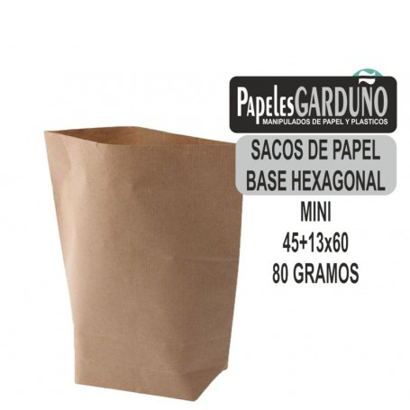 SACOS DE PAPEL KRAFT 45+13x60 BASE HEXAGONAL