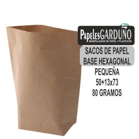 SACOS DE PAPEL KRAFT 50+13x73 BASE HEXAGONAL (100 sacos)