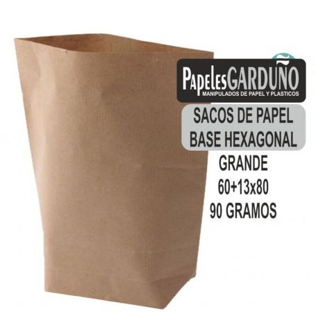 SACOS DE PAPEL KRAFT 60+13x80 BASE HEXAGONAL (100 sacos)