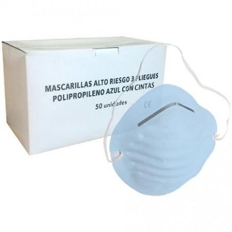 Mascarilla Azul Concha con gomas - Dispensador 50