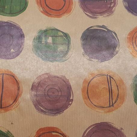 511K18-R-Papel Regalo Colección de Círculos Kraft