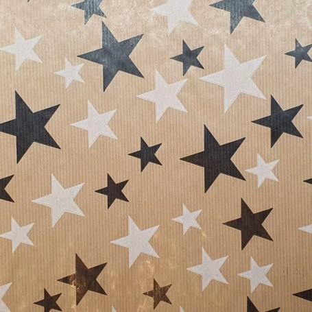 511K44-B-Papel Regalo Estrellas O-P Kraft