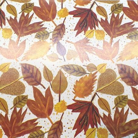 Papel regalo hojas secas fondo blanco