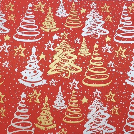 509N16-R-Papel Regalo Navideño - Navidad 18 fondo rojo