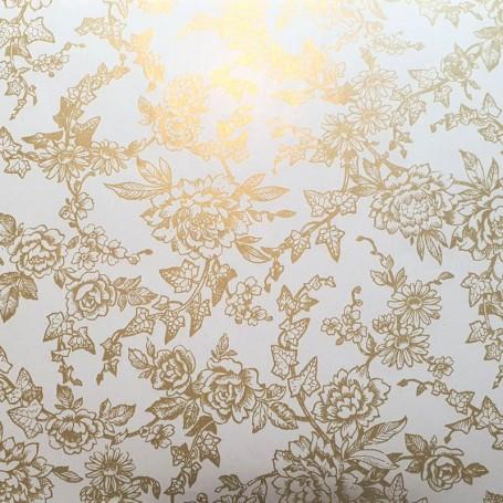 Papel regalo jardin de flores Oro