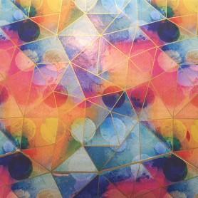 Papel regalo multicolor con prismas oro