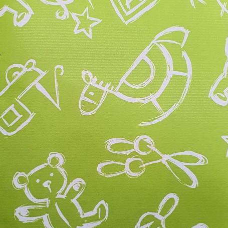 512004-Papel Regalo Verjurado Toys fondo verde 70 cm