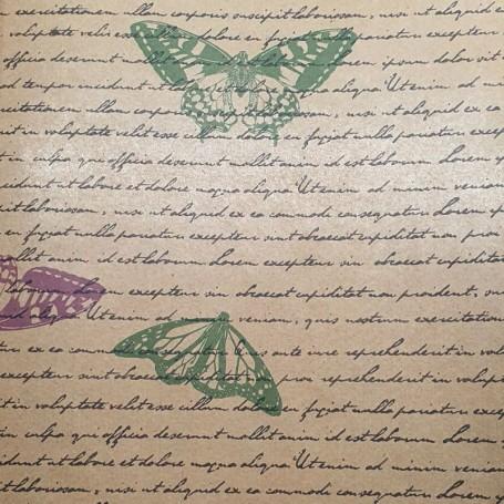 Papel Regalo con textos y mariposas kraft liso