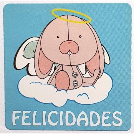 Etiqueta Felicidades Conejo Angelito 40x40