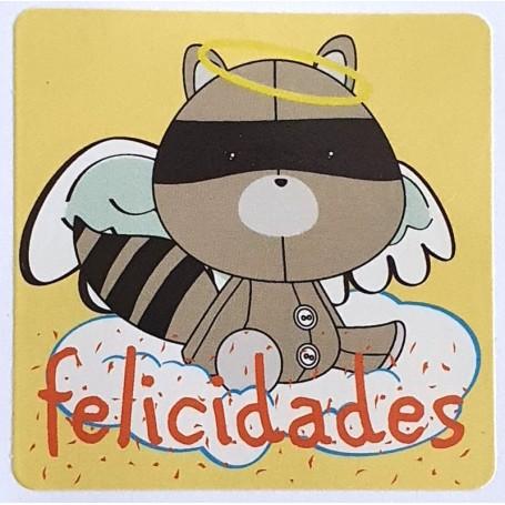 Etiqueta Felicidades Mapache Angelito 40x40