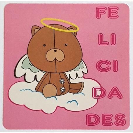 Etiqueta Felicidades Osito Angelito 40x40