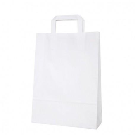 Bolsas papel asa plana 25+9*34 - celulosa 80 gr - 175 bolsas blanco