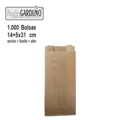 Bolsas de papel kraft 14+5x31 sin impresion - 1000 bolsas