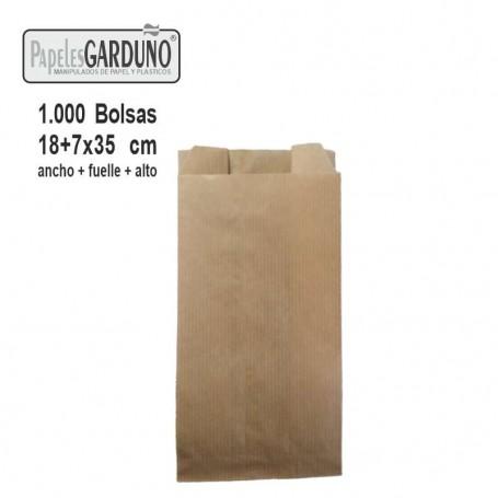 Bolsas de papel kraft 18+7x35 sin impresion - 1000 bolsas