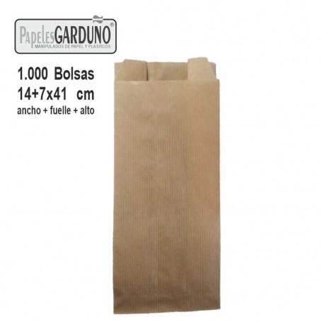 Bolsas de papel kraft 18+7x41 sin impresion - 1000 bolsas