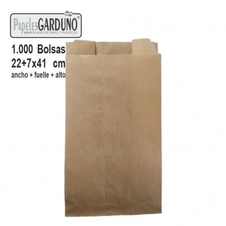 Bolsas de papel kraft 22+7x41 sin impresion - 1000 bolsas