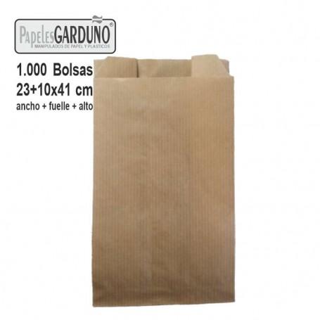 Bolsas de papel kraft 23+10x41 sin impresion - 1000 bolsas