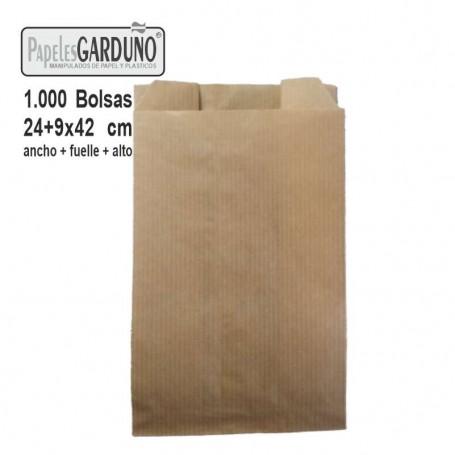 Bolsas de papel kraft 24+9x42 sin impresion - 1000 bolsas
