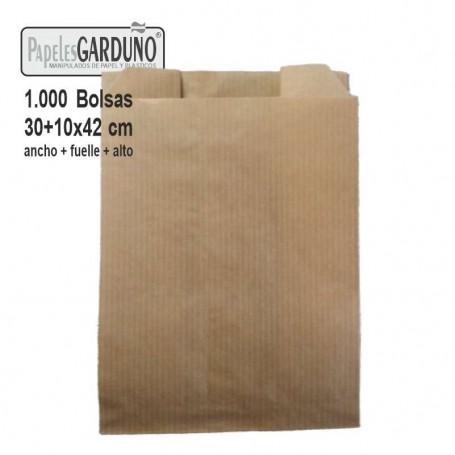 Bolsas de papel kraft 30+10x42 sin impresion - 1000 bolsas