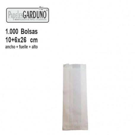 Bolsas de papel celulosa 10+6x26  sin impresion - 1000 bolsas