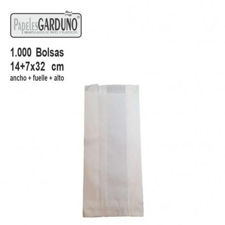 Bolsas de papel celulosa 14+7x32  sin impresion - 1000 bolsas