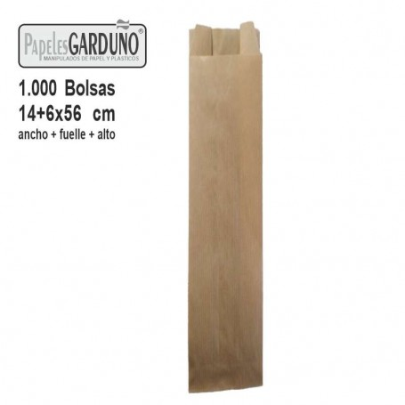 Bolsas de papel kraft 14+6x56 sin impresion - 1000 bolsas
