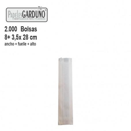 Bolsas de papel celulosa 8+3,5x28  sin impresion - 2000 bolsas