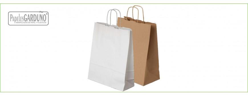 Bolsa de papel con asa retorcida estándar natural